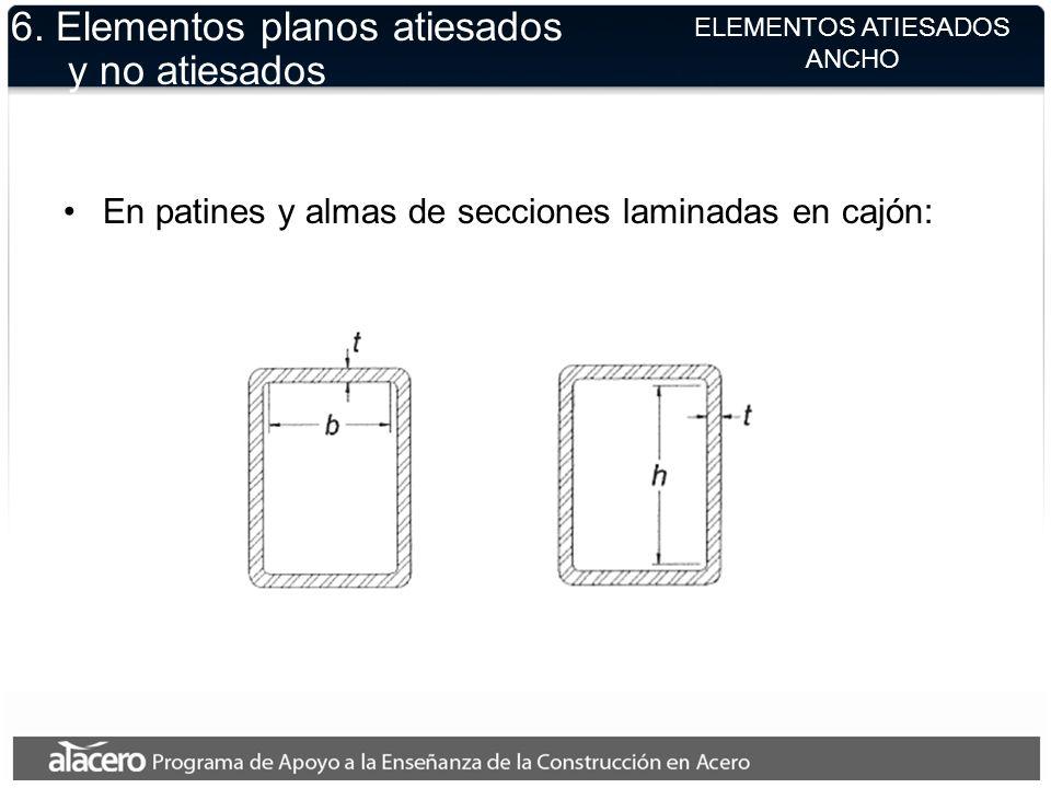 ELEMENTOS ATIESADOS ANCHO 6. Elementos planos atiesados y no atiesados En patines y almas de secciones laminadas en cajón: