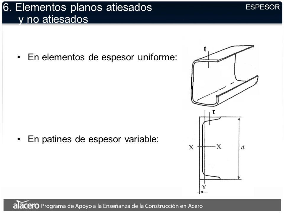 ESPESOR 6. Elementos planos atiesados y no atiesados En elementos de espesor uniforme: En patines de espesor variable:
