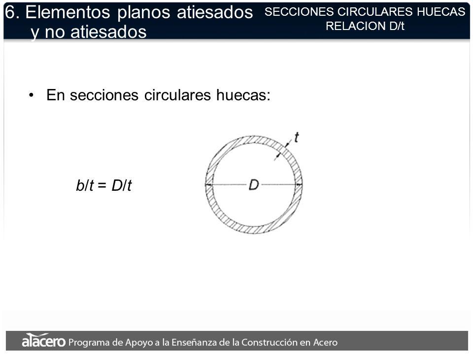 SECCIONES CIRCULARES HUECAS RELACION D/t 6. Elementos planos atiesados y no atiesados En secciones circulares huecas: b/t = D/t