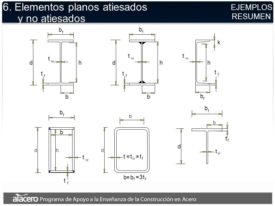EJEMPLOS RESUMEN 6. Elementos planos atiesados y no atiesados