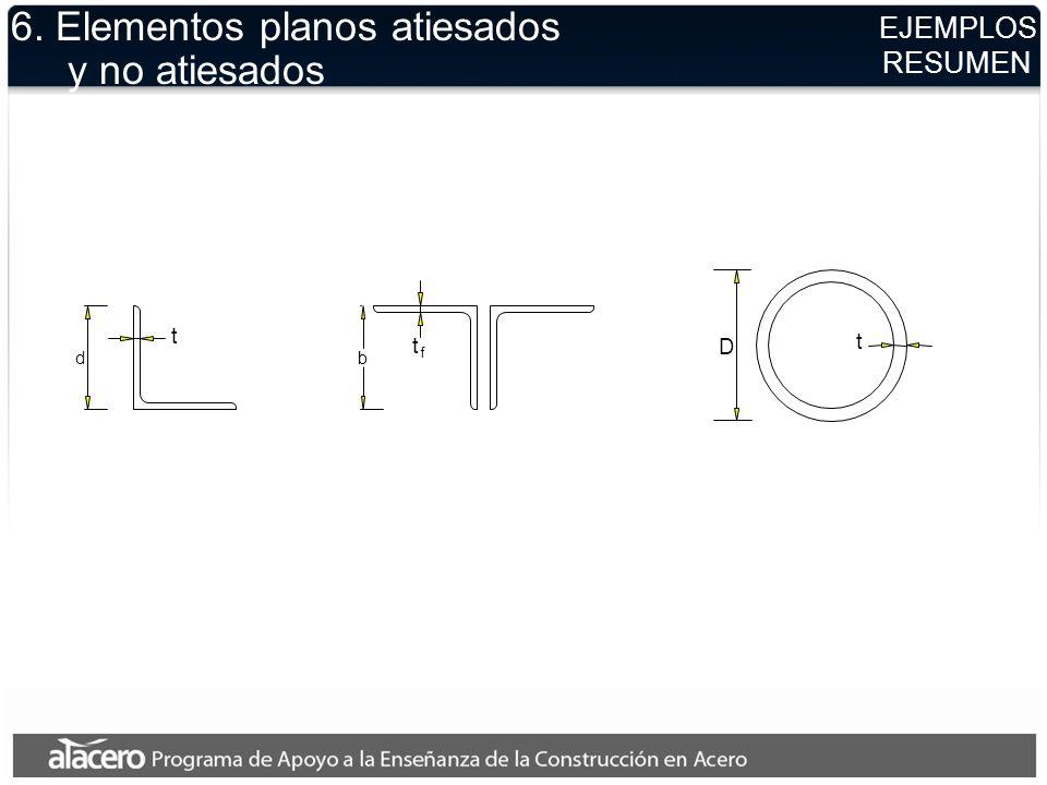 EJEMPLOS RESUMEN 6. Elementos planos atiesados y no atiesados t b t t f D d