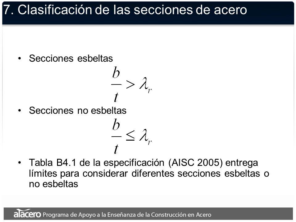 7. Clasificación de las secciones de acero Secciones esbeltas Secciones no esbeltas Tabla B4.1 de la especificación (AISC 2005) entrega límites para c