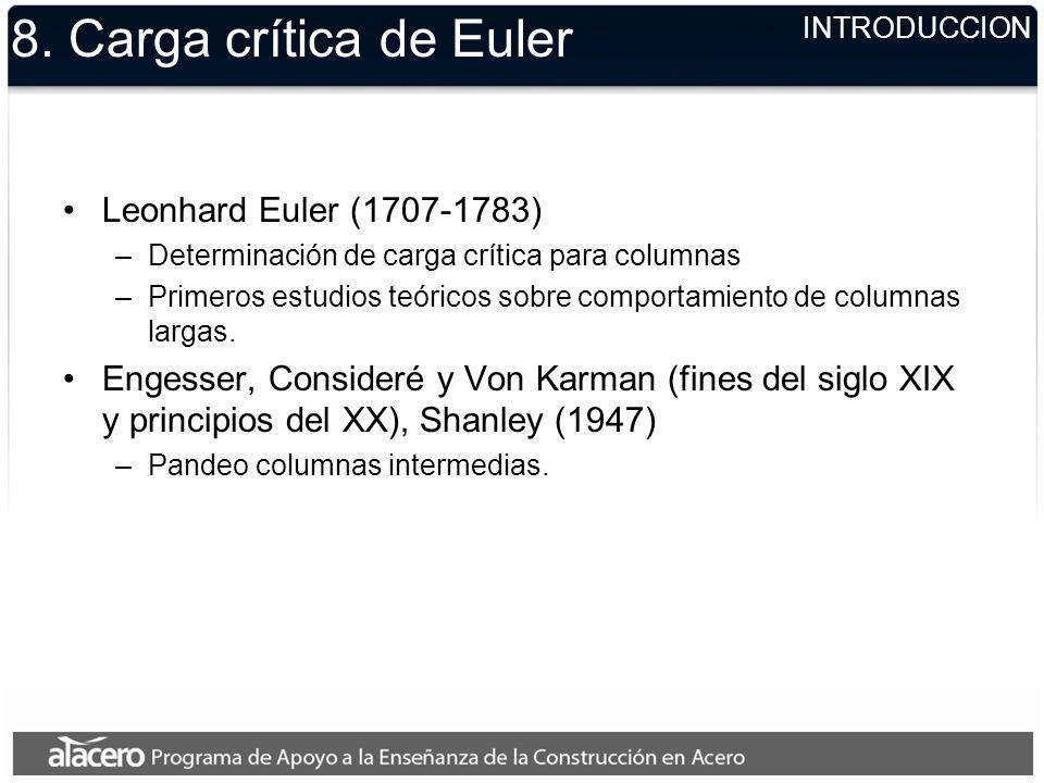 8. Carga crítica de Euler Leonhard Euler (1707-1783) –Determinación de carga crítica para columnas –Primeros estudios teóricos sobre comportamiento de