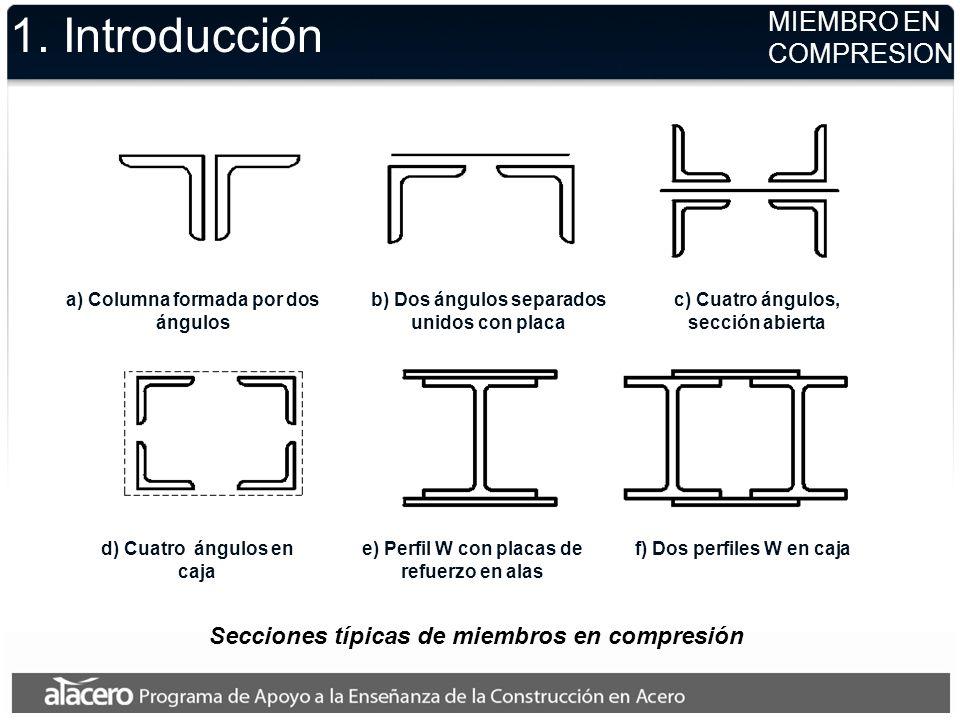 1. Introducción Secciones típicas de miembros en compresión a) Columna formada por dos ángulos b) Dos ángulos separados unidos con placa c) Cuatro áng