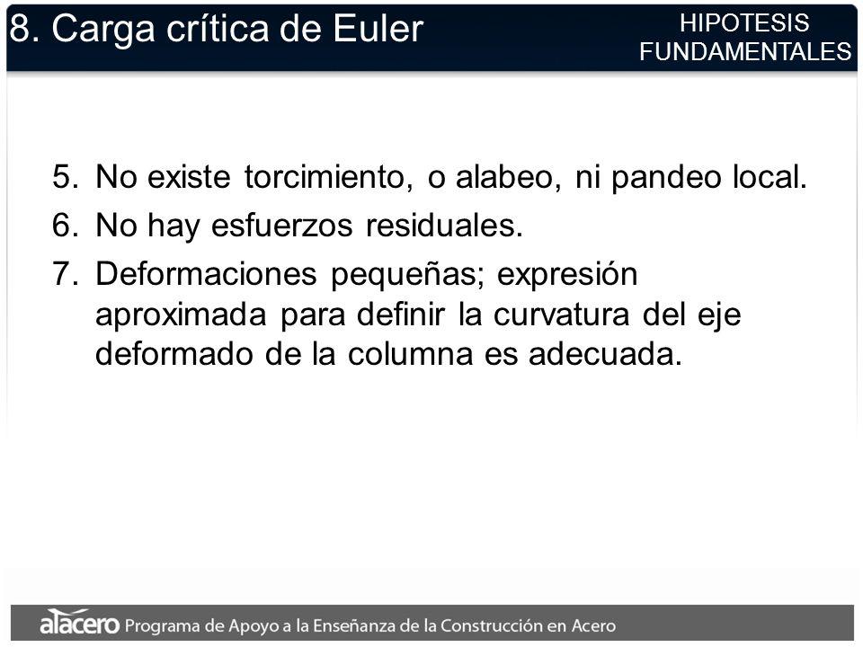 8. Carga crítica de Euler 5.No existe torcimiento, o alabeo, ni pandeo local. 6.No hay esfuerzos residuales. 7.Deformaciones pequeñas; expresión aprox