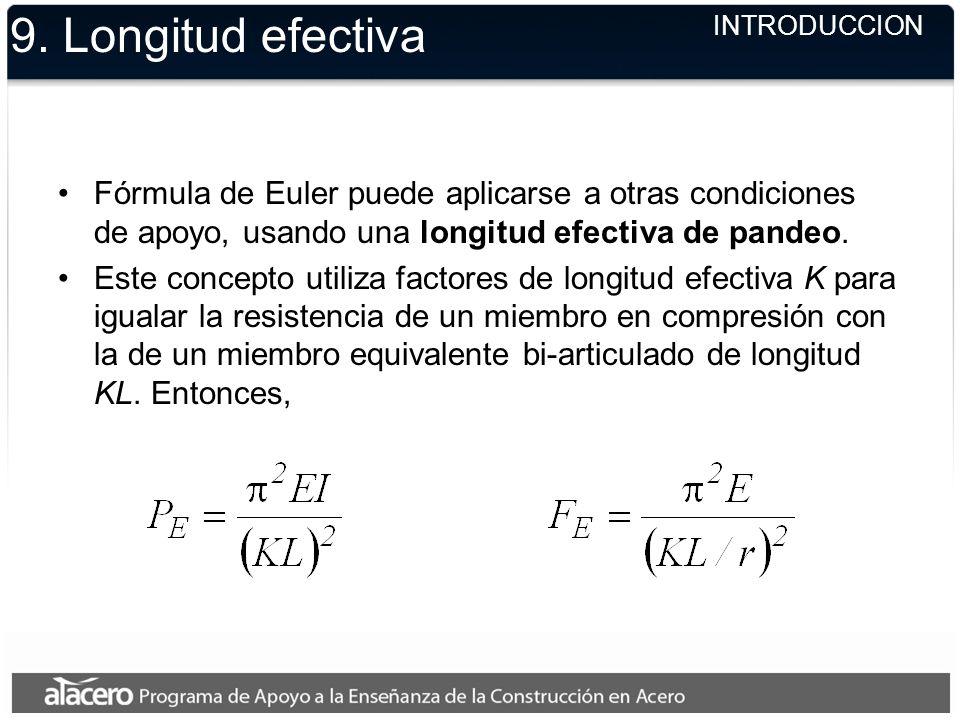 9. Longitud efectiva Fórmula de Euler puede aplicarse a otras condiciones de apoyo, usando una longitud efectiva de pandeo. Este concepto utiliza fact