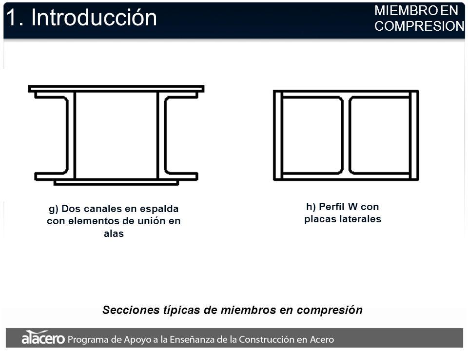 1. Introducción g) Dos canales en espalda con elementos de unión en alas h) Perfil W con placas laterales MIEMBRO EN COMPRESION Secciones típicas de m