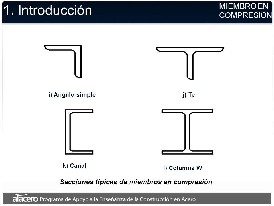 1. Introducción i) Angulo simplej) Te k) Canal l) Columna W MIEMBRO EN COMPRESION Secciones típicas de miembros en compresión