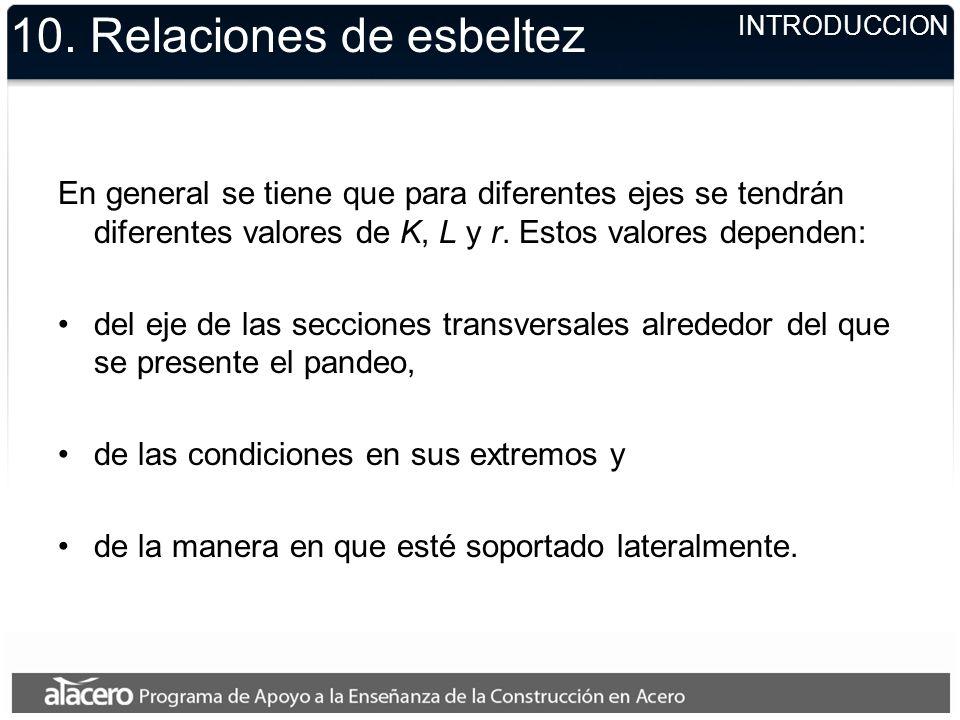 10. Relaciones de esbeltez En general se tiene que para diferentes ejes se tendrán diferentes valores de K, L y r. Estos valores dependen: del eje de