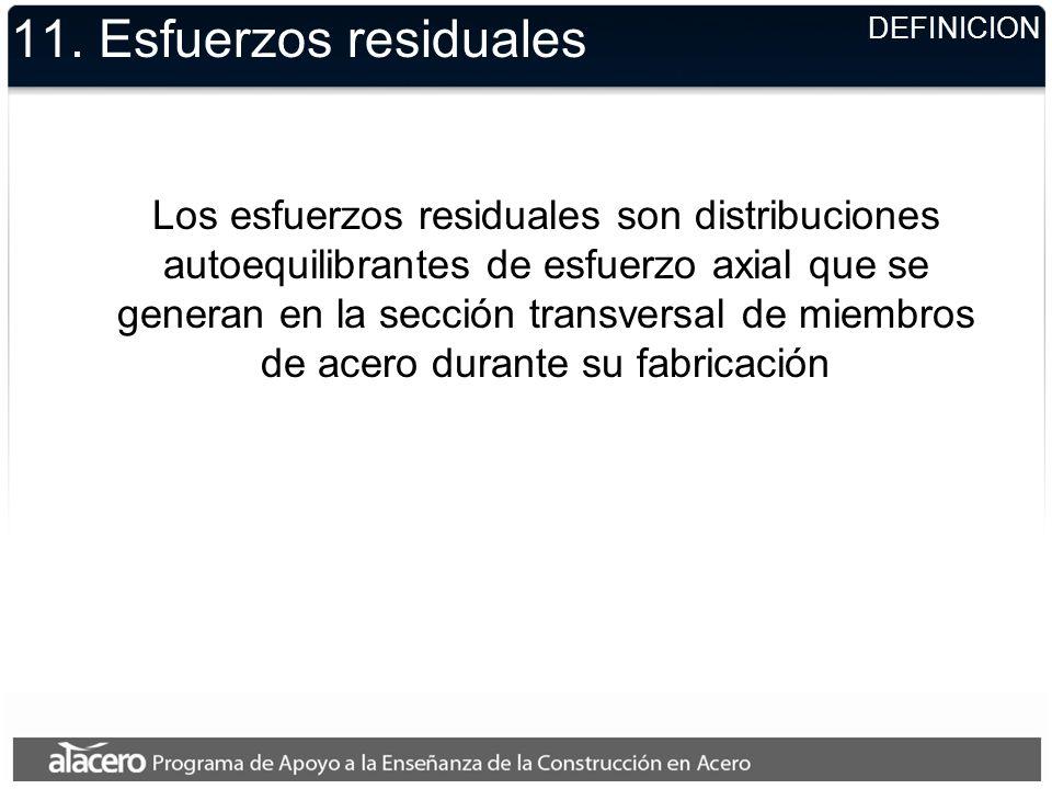 11. Esfuerzos residuales Los esfuerzos residuales son distribuciones autoequilibrantes de esfuerzo axial que se generan en la sección transversal de m
