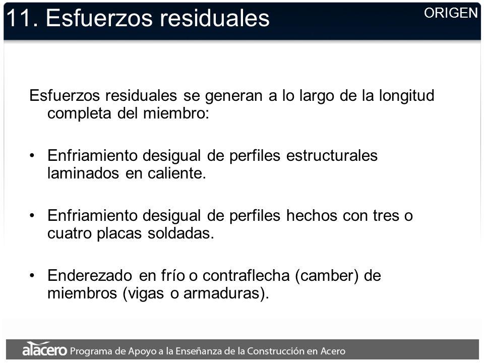 11. Esfuerzos residuales Esfuerzos residuales se generan a lo largo de la longitud completa del miembro: Enfriamiento desigual de perfiles estructural