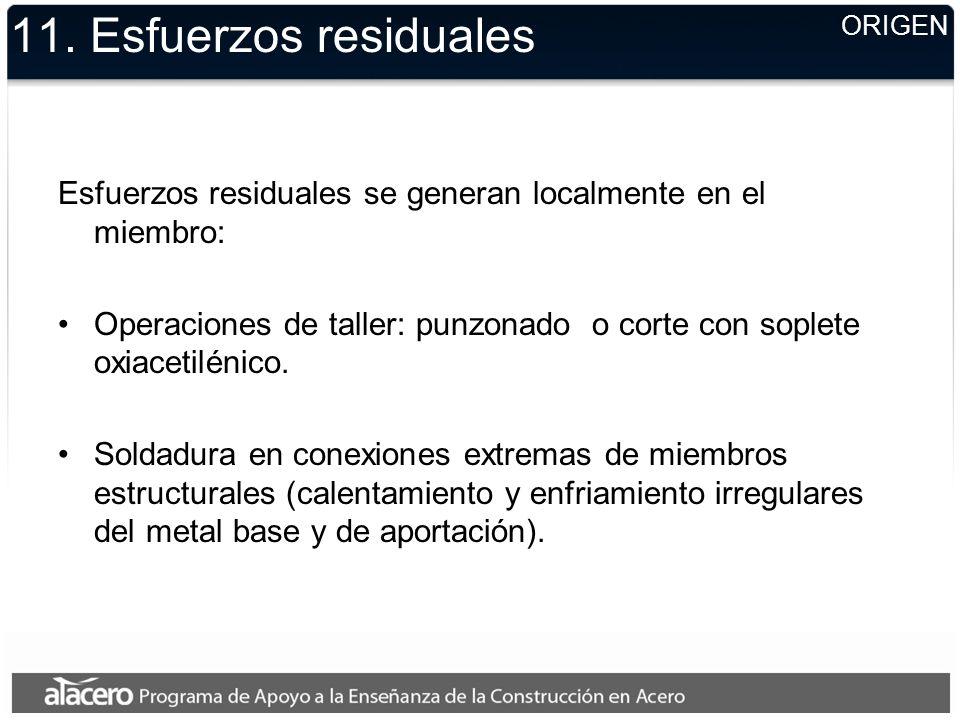 11. Esfuerzos residuales Esfuerzos residuales se generan localmente en el miembro: Operaciones de taller: punzonado o corte con soplete oxiacetilénico