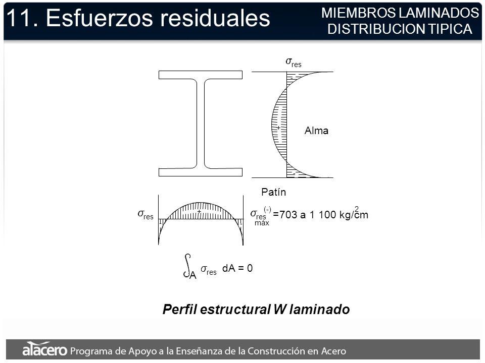 Perfil estructural W laminado A - - + + - - res Patín res dA = 0 = 703 a 1 100 kg/cm (-) máx 2 Alma 11. Esfuerzos residuales MIEMBROS LAMINADOS DISTRI