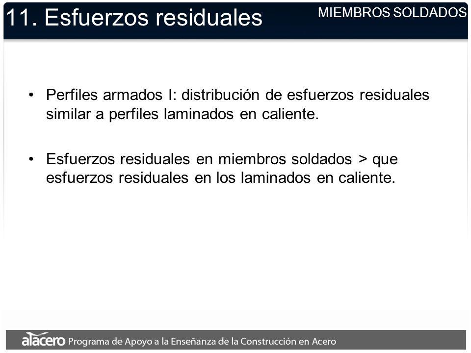 11. Esfuerzos residuales Perfiles armados I: distribución de esfuerzos residuales similar a perfiles laminados en caliente. Esfuerzos residuales en mi