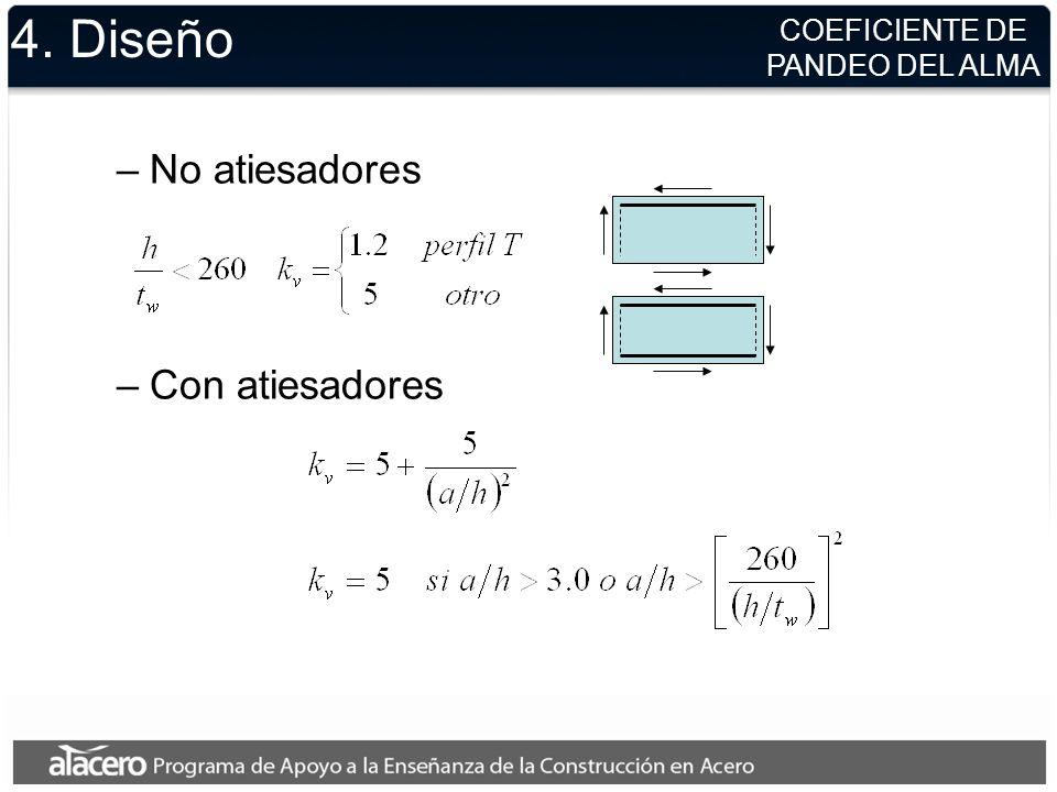 4. Diseño –Todos los demás casos v = 0.9 (LRFD) v = 1.67 (ASD) SECCIONES I, T ó C