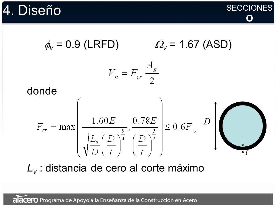 4. Diseño v = 0.9 (LRFD) v = 1.67 (ASD) donde y si no se conoce el radio r h V SECCIONES r d t
