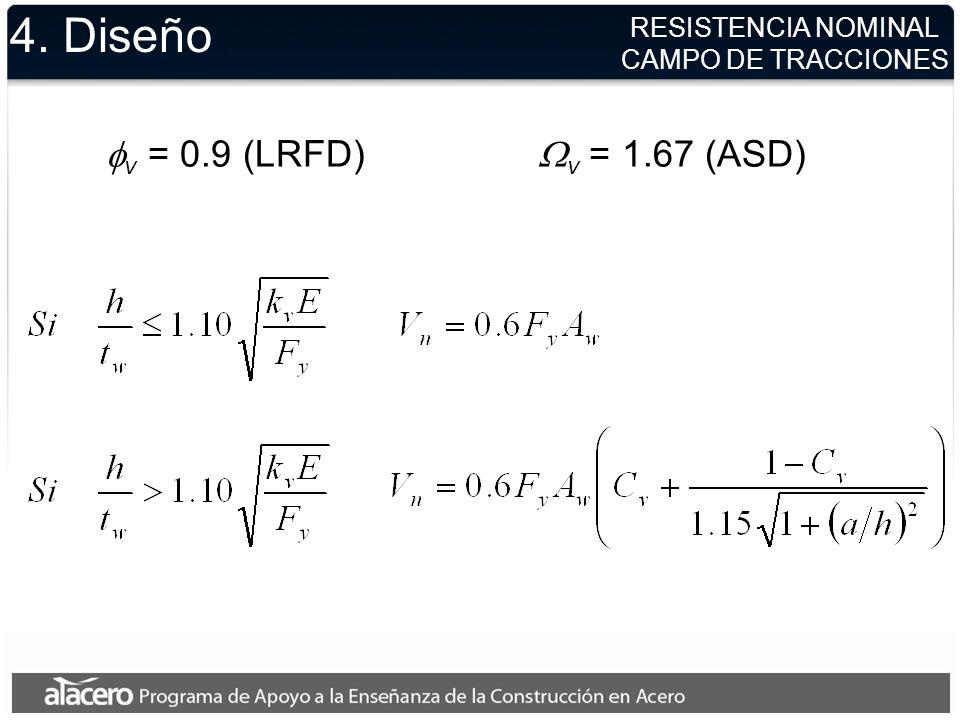 4. Diseño Alas de miembros con mono o doble simetría y canales cargados en el plano perpendicular al alma v = 0.9 (LRFD) v = 1.67 (ASD) donde y