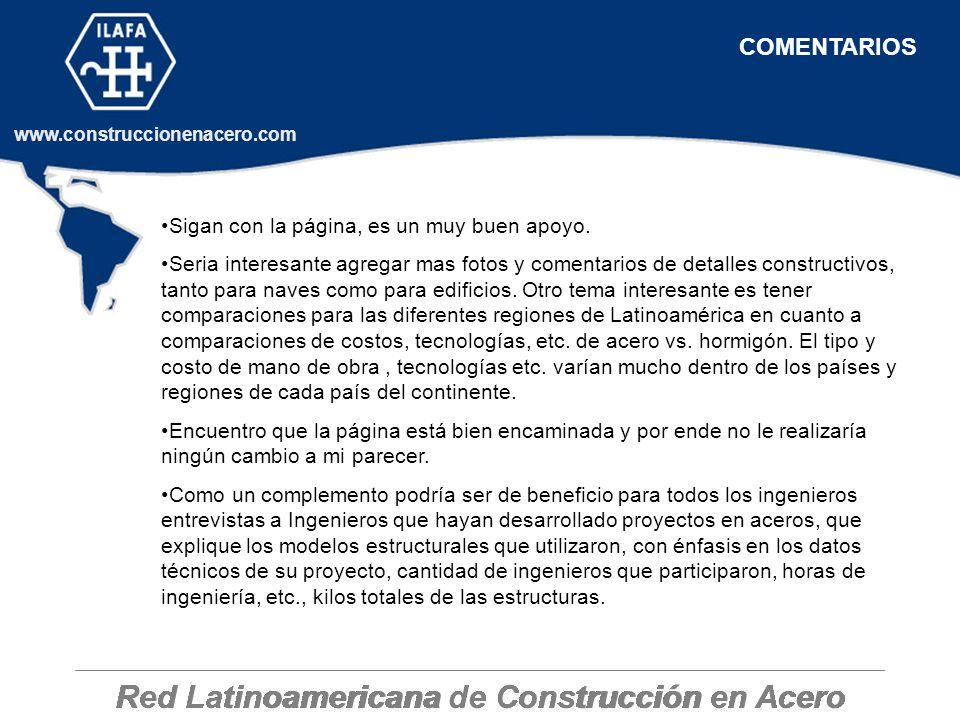 Red Latinoamericana de Construcción en Acero www.construccionenacero.com Sigan con la página, es un muy buen apoyo. Seria interesante agregar mas foto