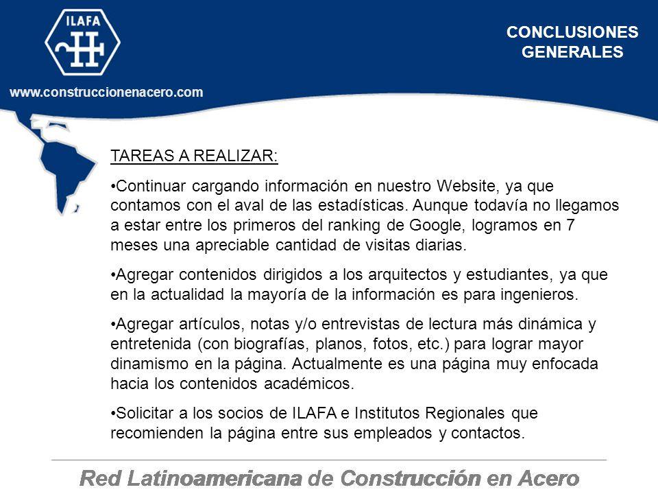 Red Latinoamericana de Construcción en Acero www.construccionenacero.com CONCLUSIONES GENERALES TAREAS A REALIZAR: Continuar cargando información en n