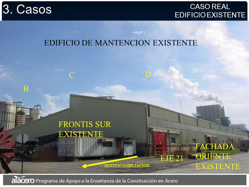 3. Casos D C B FACHADA ORIENTE EXISTENTE FRONTIS SUR EXISTENTE SENTIDO AMPLIACION EJE 21 EDIFICIO DE MANTENCION EXISTENTE CASO REAL EDIFICIO EXISTENTE