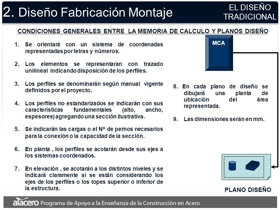 2. Diseño Fabricación Montaje EL DISEÑO TRADICIONAL PLANO DISEÑO MCA CONDICIONES GENERALES ENTRE LA MEMORIA DE CALCULO Y PLANOS DISEÑO 1.Se orientará