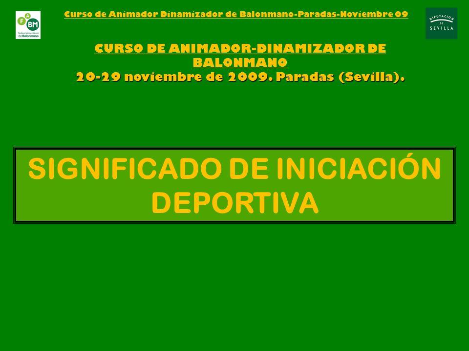 SIGNIFICADO DE INICIACIÓN DEPORTIVA CURSO DE ANIMADOR-DINAMIZADOR DE BALONMANO 20-29 noviembre de 2009.