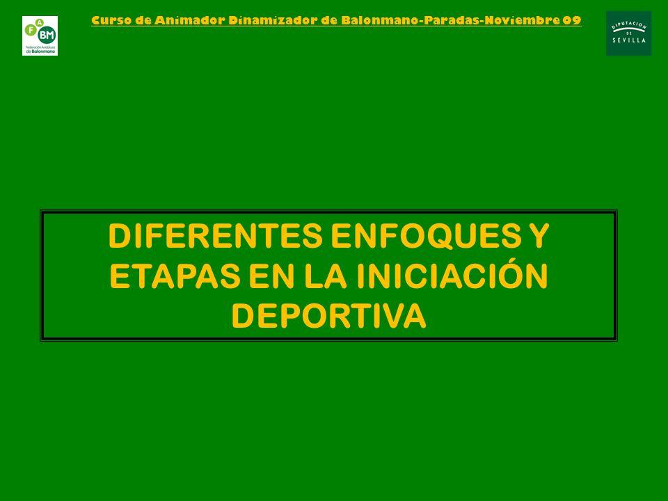 DIFERENTES ENFOQUES Y ETAPAS EN LA INICIACIÓN DEPORTIVA Curso de Animador Dinamizador de Balonmano-Paradas-Noviembre 09