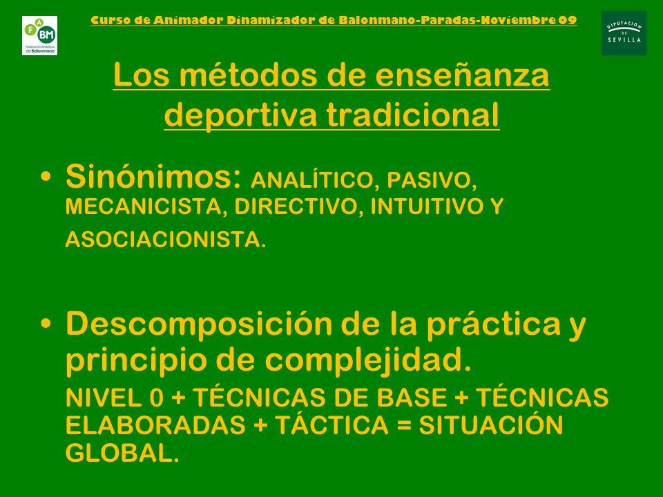 Los métodos de enseñanza deportiva tradicional Sinónimos: ANALÍTICO, PASIVO, MECANICISTA, DIRECTIVO, INTUITIVO Y ASOCIACIONISTA.