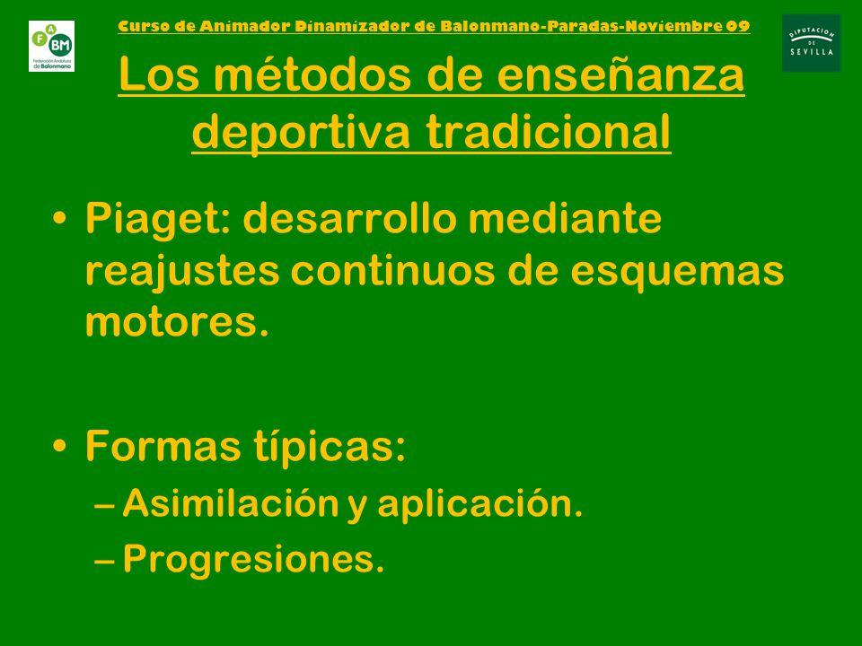 Los métodos de enseñanza deportiva tradicional Piaget: desarrollo mediante reajustes continuos de esquemas motores.