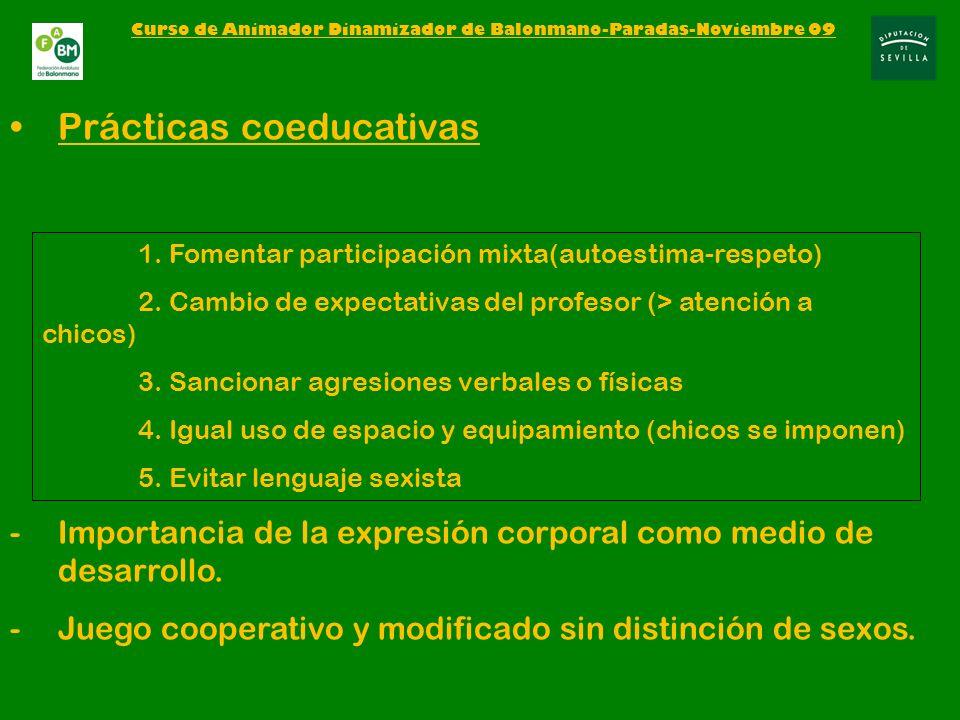 Prácticas coeducativas -Importancia de la expresión corporal como medio de desarrollo.