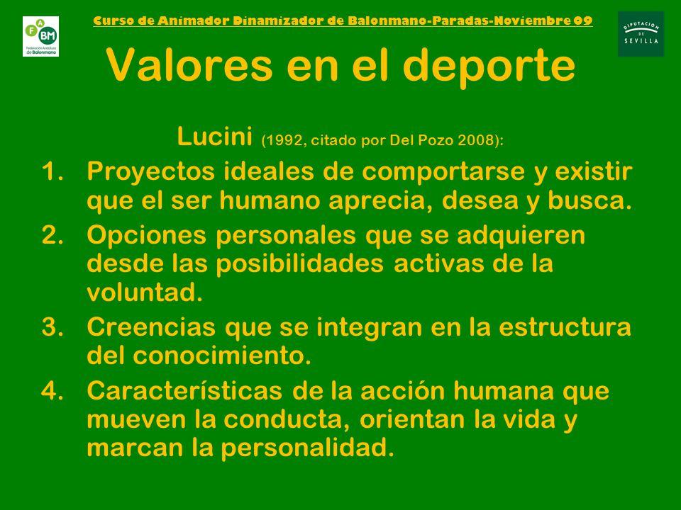 Valores en el deporte Lucini (1992, citado por Del Pozo 2008): 1.Proyectos ideales de comportarse y existir que el ser humano aprecia, desea y busca.