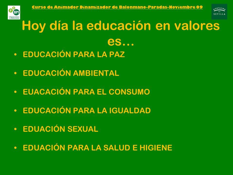 Hoy día la educación en valores es… EDUCACIÓN PARA LA PAZ EDUCACIÓN AMBIENTAL EUACACIÓN PARA EL CONSUMO EDUCACIÓN PARA LA IGUALDAD EDUACIÓN SEXUAL EDUACIÓN PARA LA SALUD E HIGIENE Curso de Animador Dinamizador de Balonmano-Paradas-Noviembre 09