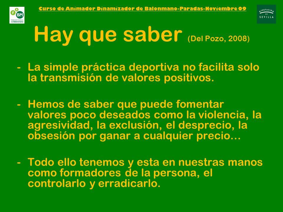 Hay que saber (Del Pozo, 2008) -La simple práctica deportiva no facilita solo la transmisión de valores positivos.
