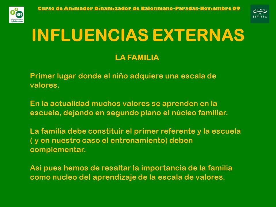 INFLUENCIAS EXTERNAS LA FAMILIA Primer lugar donde el niño adquiere una escala de valores.