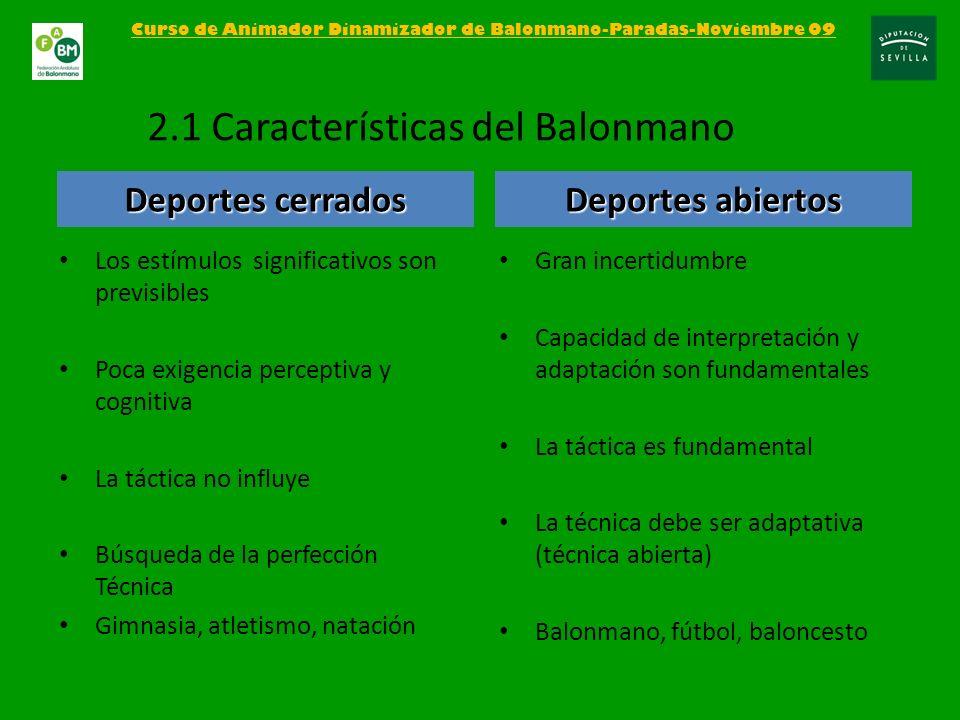 Curso de Animador Dinamizador de Balonmano-Paradas-Noviembre 09 2.1 Características del Balonmano Los estímulos significativos son previsibles Poca ex