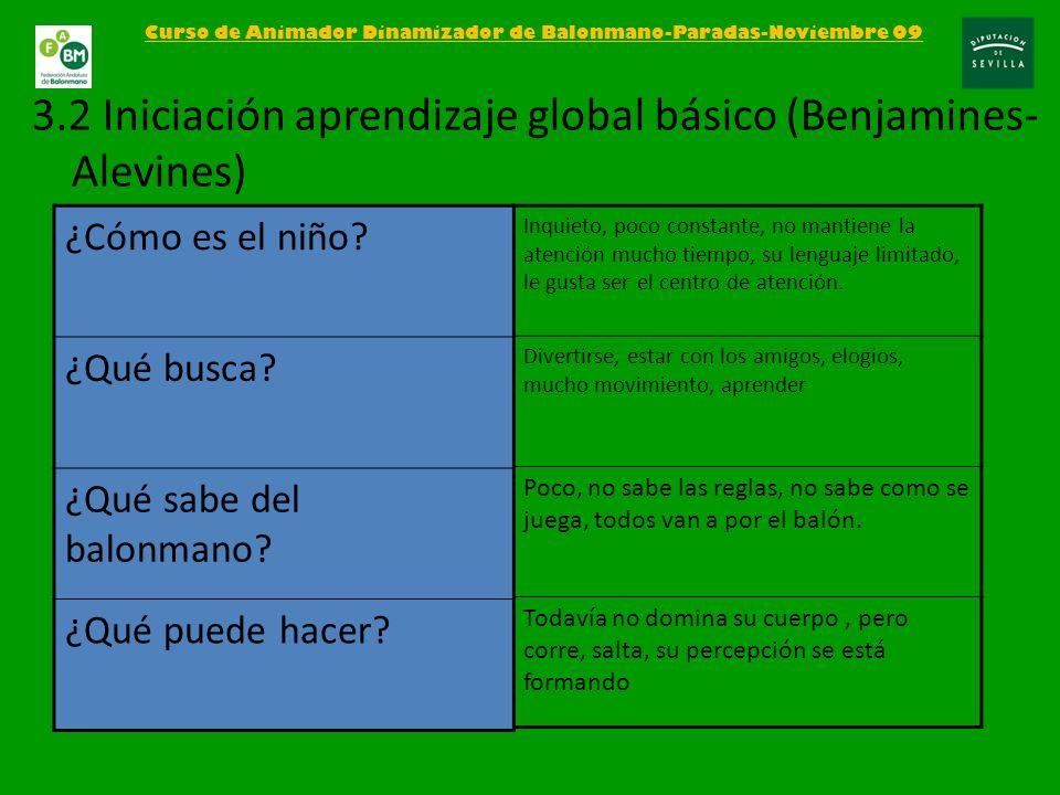 Curso de Animador Dinamizador de Balonmano-Paradas-Noviembre 09 3.2 Iniciación aprendizaje global básico (Benjamines- Alevines) Inquieto, poco constan