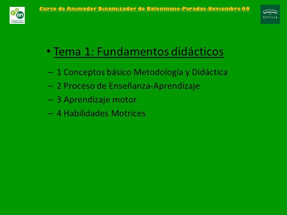 – 1 Conceptos básico Metodología y Didáctica – 2 Proceso de Enseñanza-Aprendizaje – 3 Aprendizaje motor – 4 Habilidades Motrices Curso de Animador Din