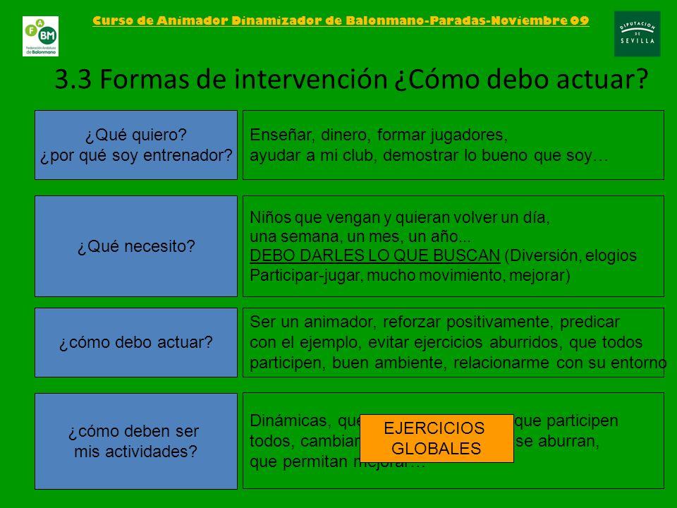 Curso de Animador Dinamizador de Balonmano-Paradas-Noviembre 09 3.3 Formas de intervención ¿Cómo debo actuar? ¿Qué quiero? ¿por qué soy entrenador? ¿Q