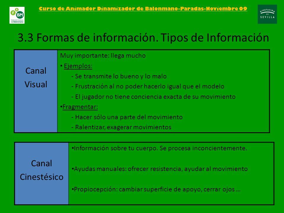 Curso de Animador Dinamizador de Balonmano-Paradas-Noviembre 09 3.3 Formas de información. Tipos de Información Canal Visual Muy importante: llega muc