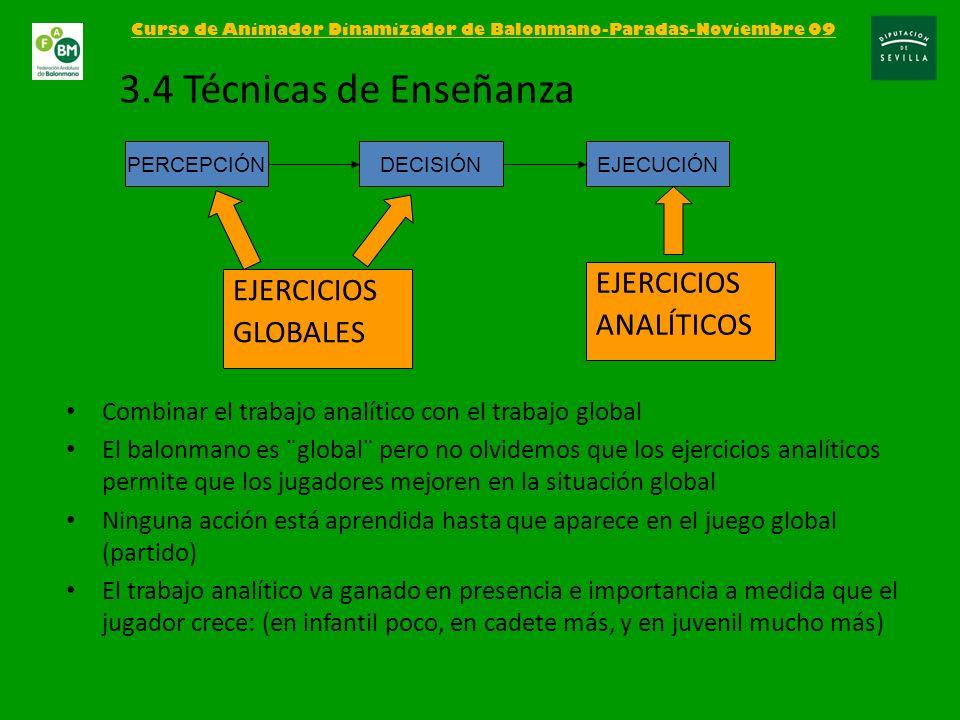 Curso de Animador Dinamizador de Balonmano-Paradas-Noviembre 09 3.4 Técnicas de Enseñanza EJERCICIOS ANALÍTICOS PERCEPCIÓNDECISIÓNEJECUCIÓN EJERCICIOS