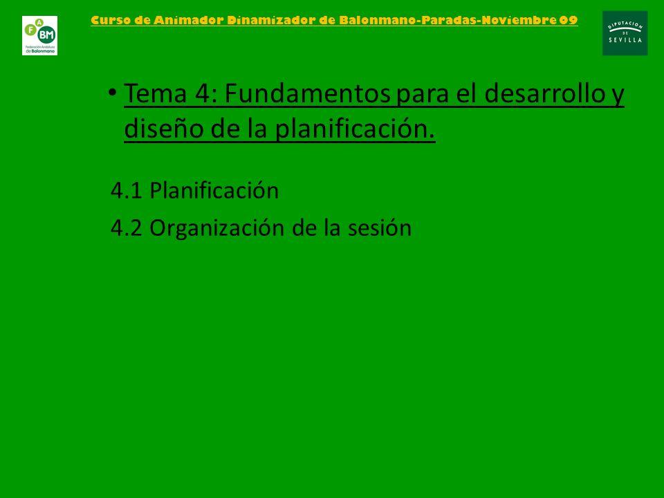 4.1 Planificación 4.2 Organización de la sesión Curso de Animador Dinamizador de Balonmano-Paradas-Noviembre 09 Tema 4: Fundamentos para el desarrollo