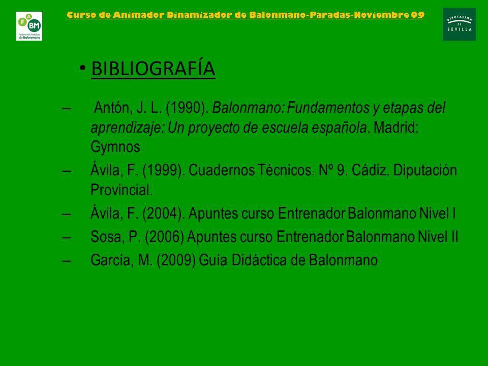 – Antón, J. L. (1990). Balonmano: Fundamentos y etapas del aprendizaje: Un proyecto de escuela española. Madrid: Gymnos – Ávila, F. (1999). Cuadernos