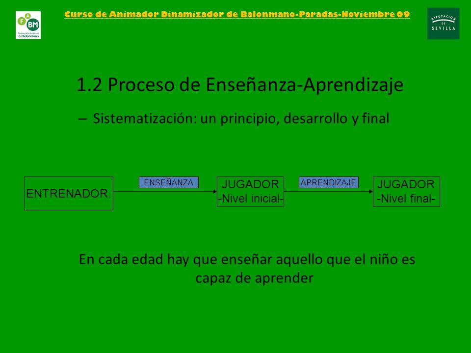 – Sistematización: un principio, desarrollo y final Curso de Animador Dinamizador de Balonmano-Paradas-Noviembre 09 1.2 Proceso de Enseñanza-Aprendiza