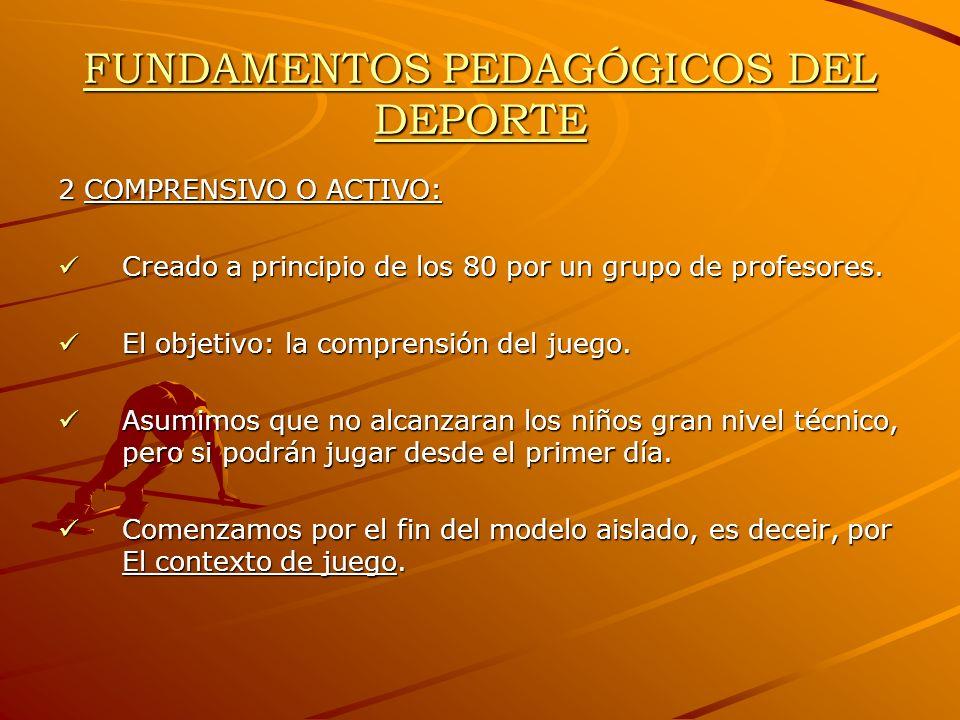 FUNDAMENTOS PEDAGÓGICOS DEL DEPORTE 2 COMPRENSIVO O ACTIVO: Creado a principio de los 80 por un grupo de profesores. Creado a principio de los 80 por