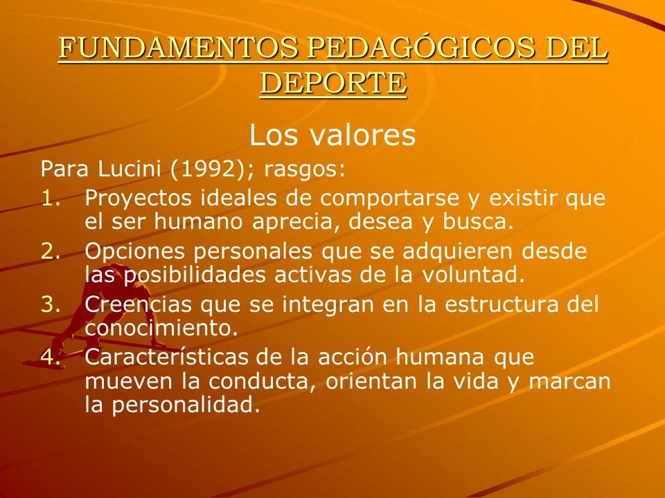 FUNDAMENTOS PEDAGÓGICOS DEL DEPORTE Los valores Para Lucini (1992); rasgos: 1. 1.Proyectos ideales de comportarse y existir que el ser humano aprecia,