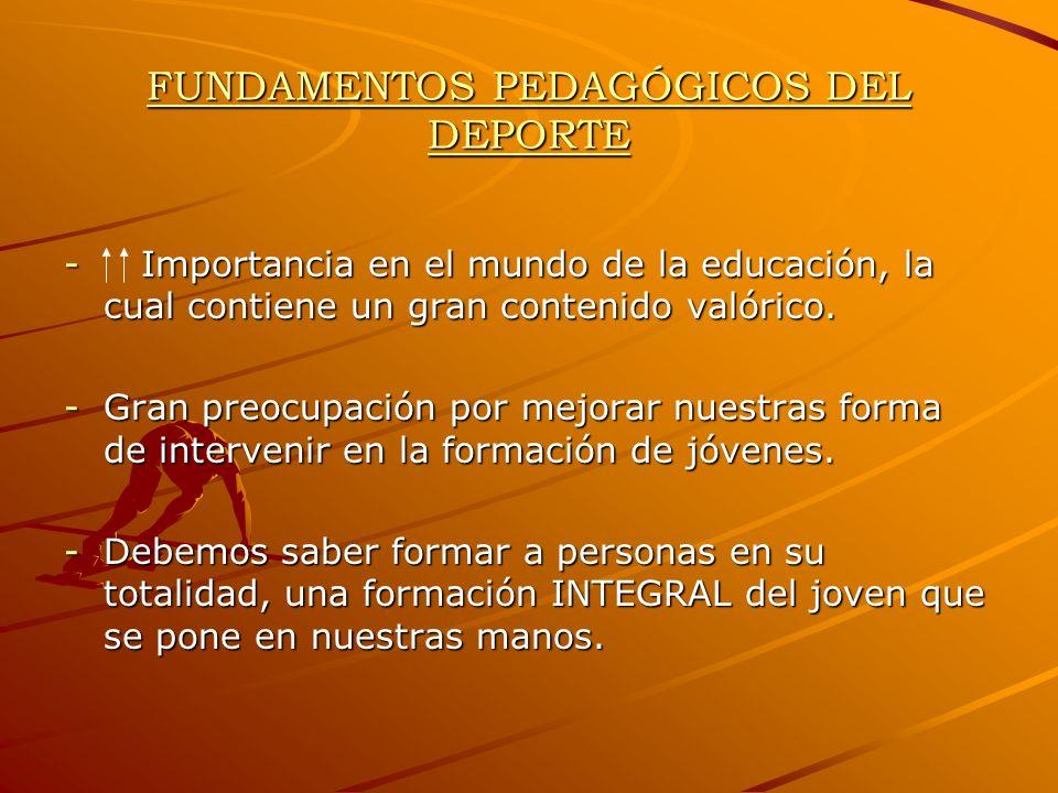 FUNDAMENTOS PEDAGÓGICOS DEL DEPORTE - Importancia en el mundo de la educación, la cual contiene un gran contenido valórico. -Gran preocupación por mej