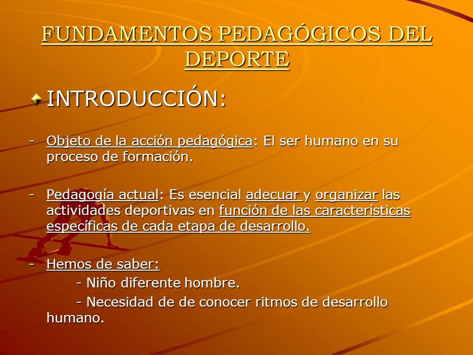 FUNDAMENTOS PEDAGÓGICOS DEL DEPORTE INTRODUCCIÓN: -Objeto de la acción pedagógica: El ser humano en su proceso de formación. -Pedagogía actual: Es ese
