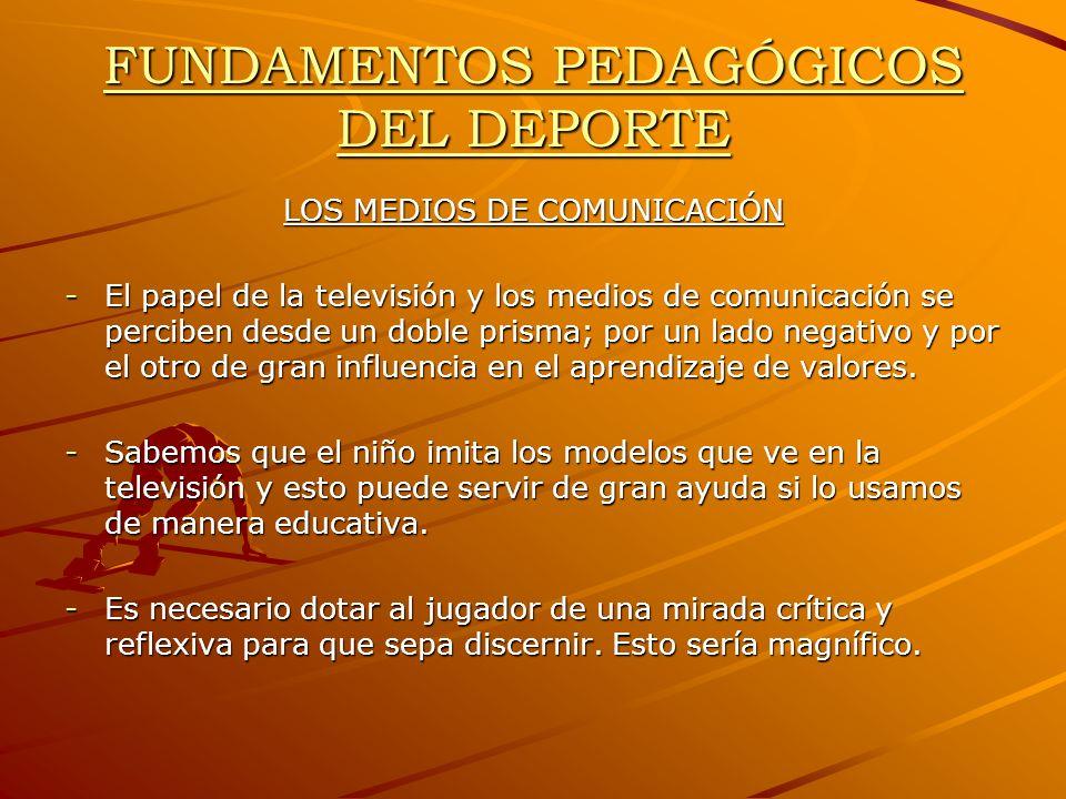 FUNDAMENTOS PEDAGÓGICOS DEL DEPORTE LOS MEDIOS DE COMUNICACIÓN -El papel de la televisión y los medios de comunicación se perciben desde un doble pris