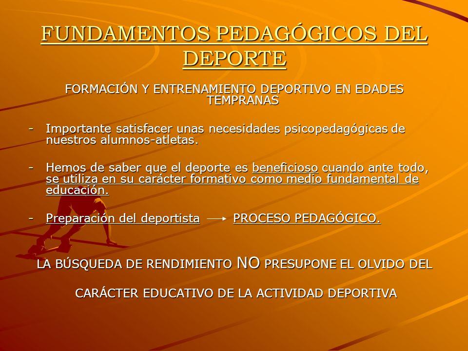 FUNDAMENTOS PEDAGÓGICOS DEL DEPORTE FORMACIÓN Y ENTRENAMIENTO DEPORTIVO EN EDADES TEMPRANAS -Importante satisfacer unas necesidades psicopedagógicas d