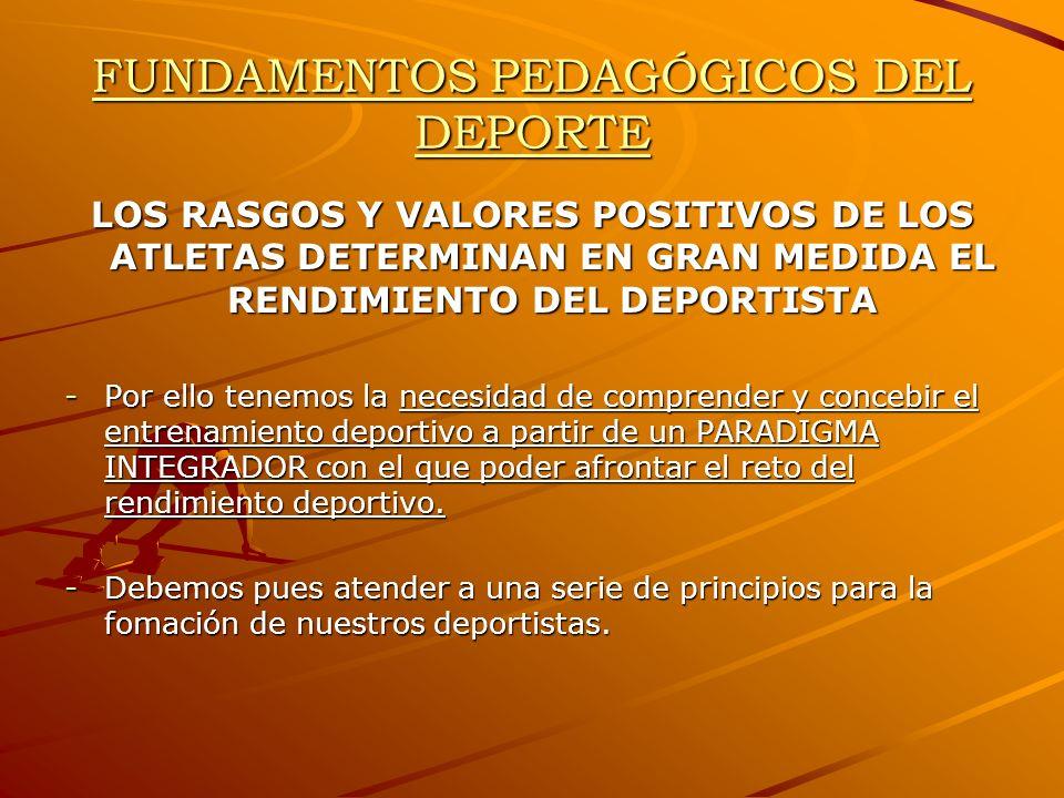 FUNDAMENTOS PEDAGÓGICOS DEL DEPORTE Modelo deportivo de alto rendimiento -Sujeto a fuertes intereses económicos.